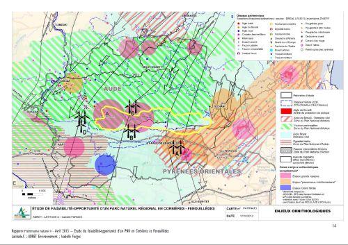 Carte des 4 projets éoliens autour du projet de site classé de Bugarach