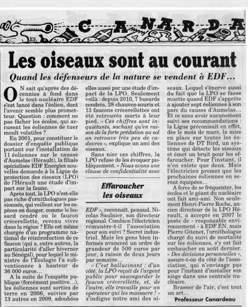 Canard Enchaîné - la LPO se vend à l'EDF - 2012